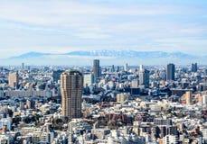 Widok Tokio miasto w zimie od Tokio wierza Zdjęcia Royalty Free