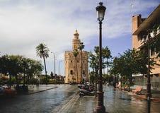 Widok Torre Del Oro w Seville, Hiszpania obraz royalty free