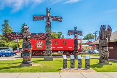 Widok totemy w Duncan, Kanada - obraz royalty free
