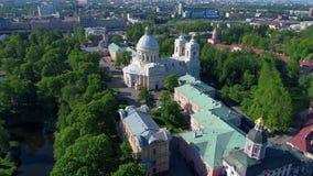 Widok trójcy katedra na Pogodnym może dzień Aleksander Nevsky Lavra, święty Petersburg zbiory
