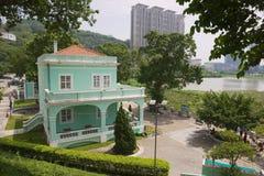 Widok tradycyjny portugalczyka dom w Taipa wiosce, Macau fotografia stock