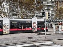 Widok tramwajowy omijanie obraz stock