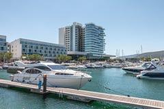 Widok Troia Marina z swój luksusowymi łodziami obraz stock