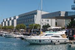 Widok Troia Marina z swój luksusowymi łodziami obrazy royalty free