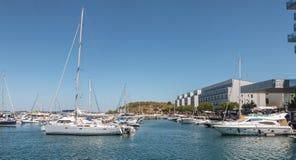 Widok Troia Marina z swój luksusowymi łodziami zdjęcie royalty free