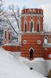 Widok Tsaritsyno park w Moskwa stary most Zdjęcia Royalty Free