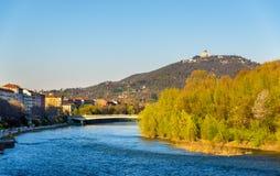 Widok Turyn nad Po rzeką Fotografia Royalty Free