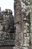 Widok twarz na tarasie przy Bayon Wat, 12th wiek świątynia wśród Angkor Thom kompleksu obrazy royalty free