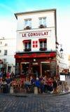 Widok typowy Paris cukierniany Consulat w Paryż, Montmartre teren, Francja Obrazy Stock