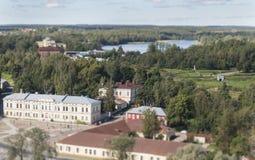 Widok ujście Vuoksi i zatoka Finlandia w punkcie obserwacyjnym górujemy w Vyborg, plandeki przesunięcia plamy skutek Zdjęcie Stock