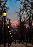 Widok ulica przy nocą w Santiago fotografia royalty free