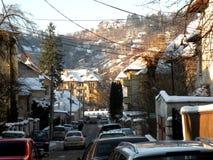 Widok ulica w starym miasteczku, Brasov, Transilvania, Rumunia Zdjęcia Stock