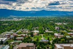 Widok uniwersytet Montana od góra wartownika w Missoula, zdjęcie royalty free