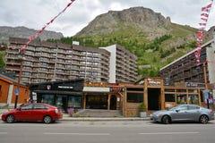 Widok Val d ` Isere, ośrodek narciarski w Francja Obrazy Stock