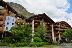 Widok Val d ` Isere, ośrodek narciarski w Francja Obraz Stock