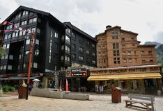 Widok Val d ` Isere, ośrodek narciarski w Francja Zdjęcia Royalty Free