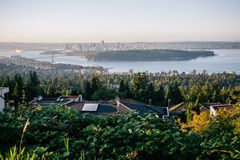 Widok Vancouver, brać w Zachodnim Vancouver obrazy royalty free