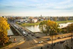 Widok Vistula rzeka w historycznym centrum miasta Zdjęcia Stock