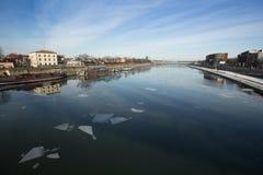 Widok Vistula rzeka w historycznym centrum miasta Obraz Royalty Free