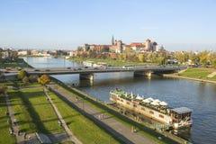 Widok Vistula rzeka w historycznym centrum miasta Vistula jest długim rzeką w Polska Obrazy Stock