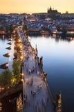 Widok Vltava rzeka z Charles mostem Obrazy Stock