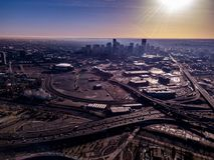 Widok W centrum Denver od stadium obrazy royalty free