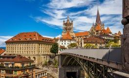 Widok w centrum Lausaunne, Szwajcaria - fotografia stock