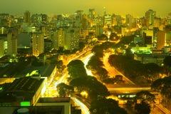Widok w centrum linia horyzontu De Maio w Sao Paulo i aleja 23 Fotografia Stock