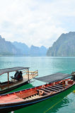 Widok w Chiew Larn jeziorze, Khao Sok park narodowy, Tajlandia Fotografia Stock