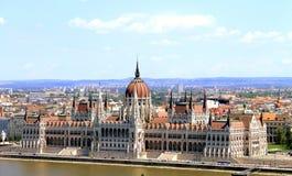 Widok Węgierski parlament i krajobraz Budapest Fotografia Royalty Free