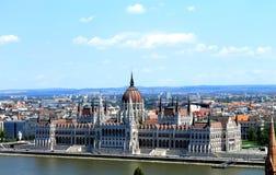 Widok Węgierski parlament i krajobraz Budapest Fotografia Stock
