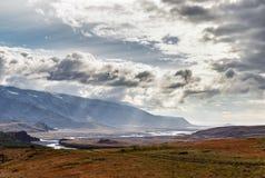 Widok w Iceland na północnym morzu Thorsmork strefie i Fotografia Royalty Free