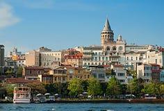 Widok w Istanbuł, Galata wierza Obrazy Royalty Free