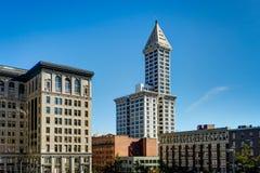 Widok w kierunku Historycznego budynku w Seattle Waszyngton Jednoczył Stat Zdjęcie Royalty Free