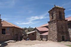 Widok w kierunku Jeziornego Titicaca od Taquile wyspy zdjęcia royalty free