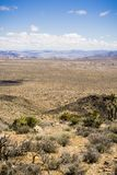 Widok w kierunku wysokiej pustyni pstrzył z rzadką roślinnością i skalistymi wychodami Joshua drzewa park narodowy, różnorodne ro obraz stock