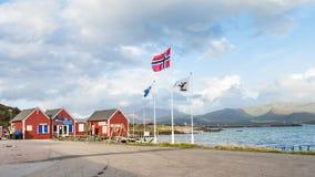 Widok wejście port Leknes, Lofoten, Norwegia zdjęcia royalty free