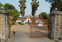 Widok wejściowa brama Haw Kham Royal Palace w Luang Prabang, Laos Obrazy Stock