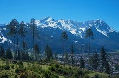 Widok wetterstein góry masa przez conifers Zdjęcia Royalty Free