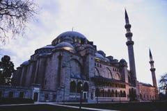 Widok wewnętrzny podwórze Suleymaniye meczet Lokalni i cudzoziemscy turyści przychodzący widzieć przychodzą worsh obraz royalty free