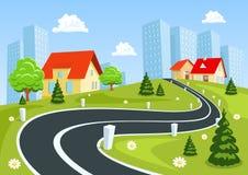 Widok wieś i miasto ilustracja wektor