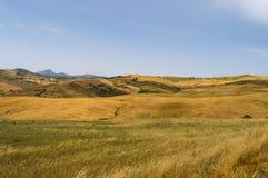 Widok wieś, pola i wzgórza w regionie plebanu, Obrazy Stock