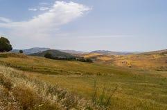Widok wieś, pola i wzgórza w regionie plebanu, Zdjęcia Stock