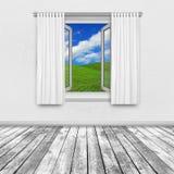Widok wieś przez otwartego okno Obrazy Royalty Free