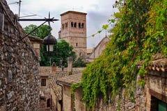Widok wierza kościół San Rufino w Assisi zdjęcie stock