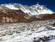 Widok wierzchołek Lhotse, południe skały twarz Zdjęcie Stock