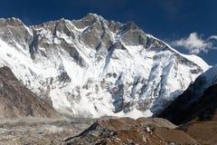 Widok wierzchołek Lhotse, południe skały twarz Obraz Stock