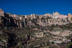 Widok wieszać domy Cuenca stary miasteczko Przykład medieva Zdjęcia Royalty Free