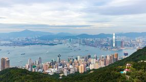 Widok Wiktoria schronienie, Hong Kong fotografia stock