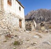 Widok wioska Purang wokoło Muktinath Fotografia Stock